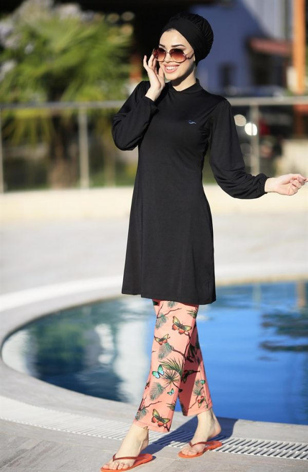 Lycra Fabric Black Burkini Flare