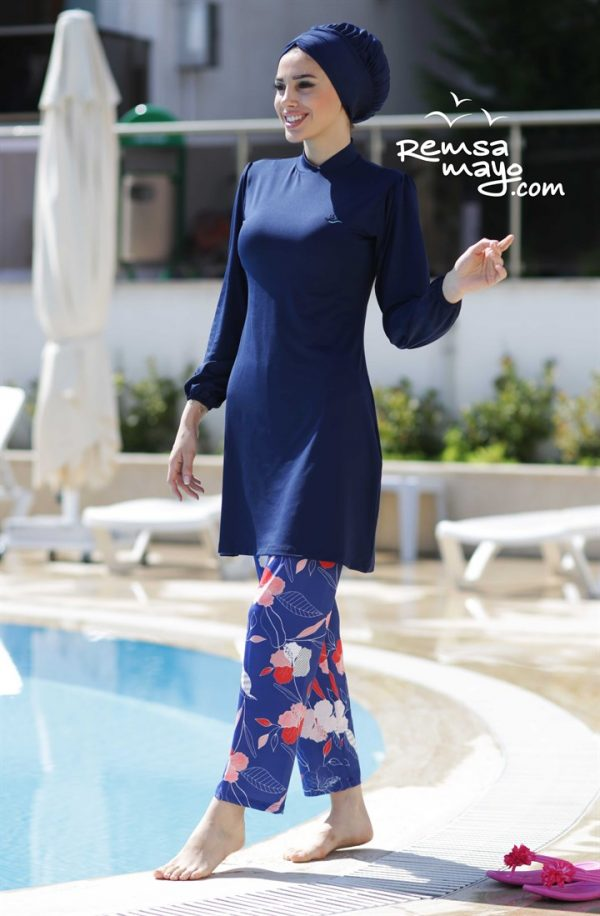 Lycra Fabric Navy Burkini Flare