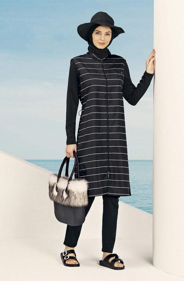 Striped Black Burkini