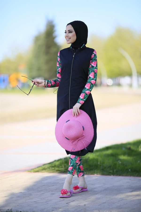 Watermelon Full Coverage Black Burkini