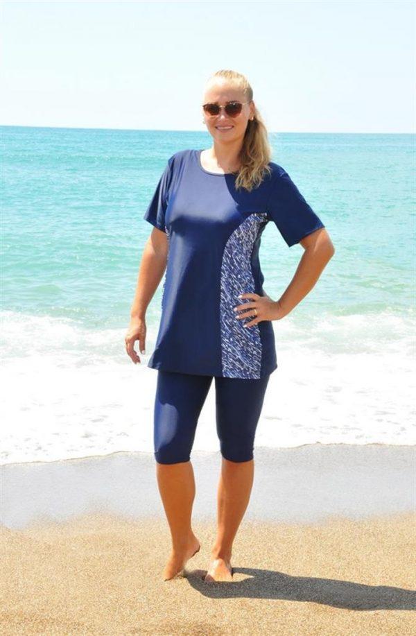 Blue Comfort Half Coverage Modest Swimwear
