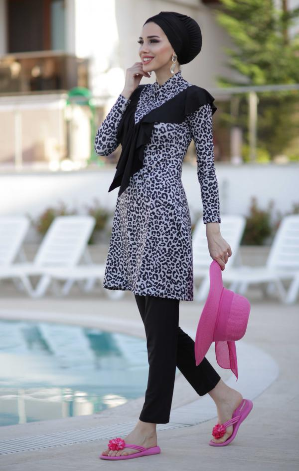 Black Grey Leopard Full Coverage Burkini