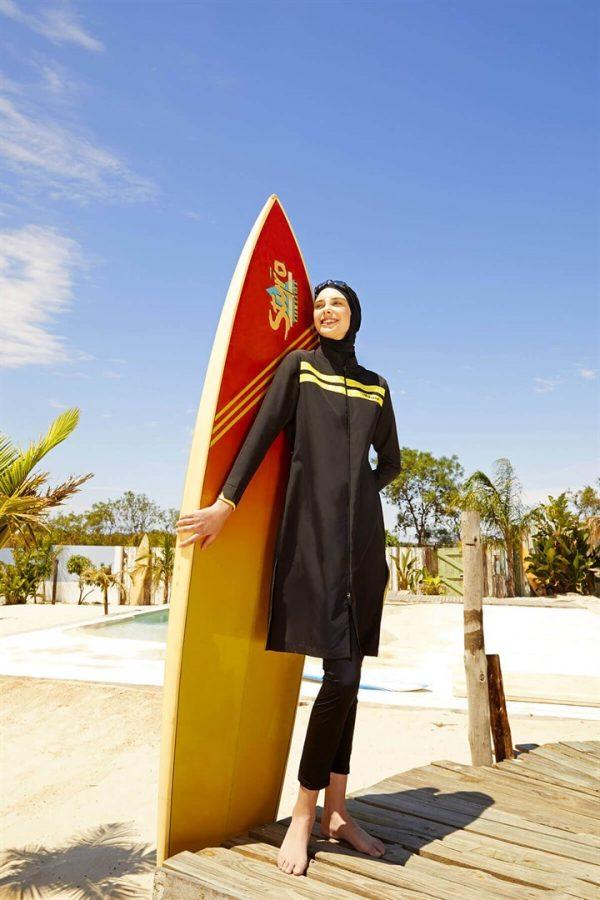 Yellow Striped Black Burkini