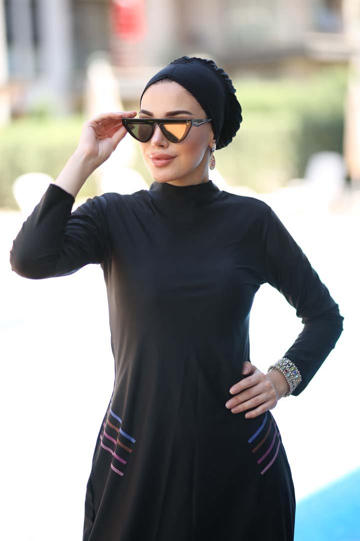 Black Rose Burkini Swimwear