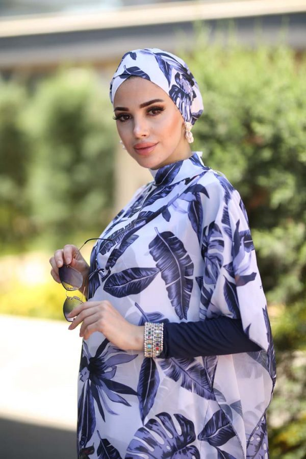 Blue Leaves Burkini Pareo (Kaftan)