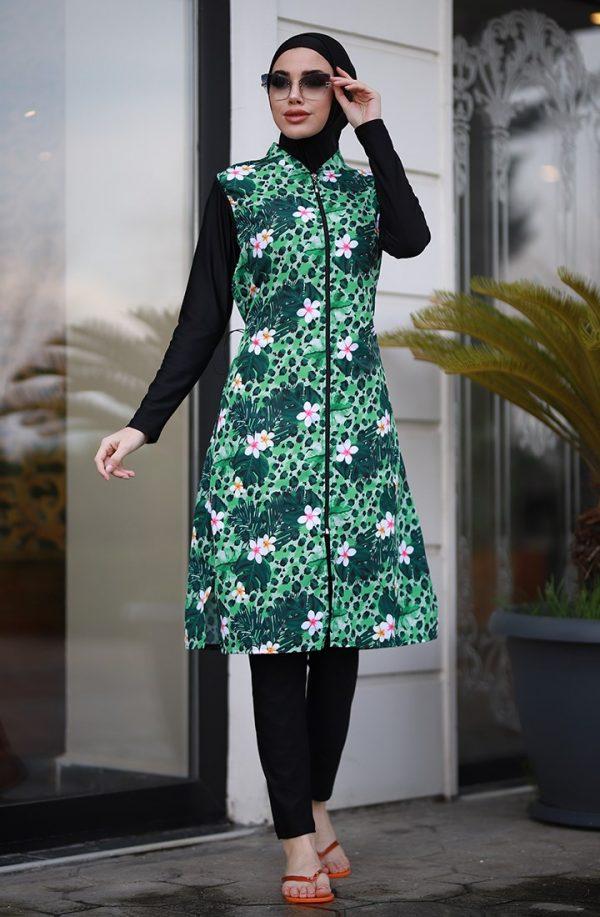 Green Daisy Burkini